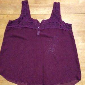 Aeropostale Burgundy Sheer Lace Tank TOP Curved M